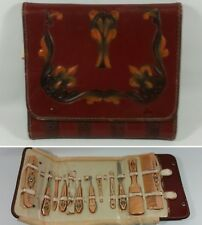 Vintage Womans Beautyware / Cosmetics Travel Kit w/ Hand Tooled Leather Case
