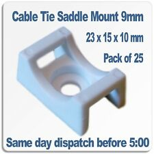 Cable Tie Saddle Mounts for 9mm ties. White nylon 6/6 Pack of 25