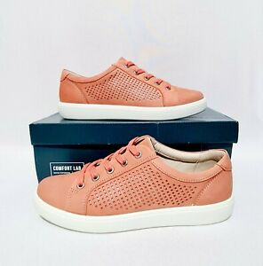 Hotter Brooke Coral Pink Nubuck Leather Shoes UK 4.5 EXF Wide Fit Casual