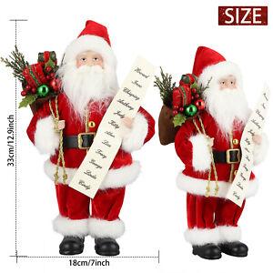 "12"" Traditional Standing Christmas Santa Claus Figure Xmas Father Decoration UK"