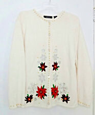 Vintage Holiday Ugly White Christmas Poinsettia Snowflake Sequin Sweater Sz L