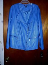 Alfani Women's PLUS SIZE BLUE Faux Leather Moto Jacket NWT Size 3X MSRP $109.50