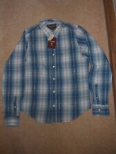 ABERCROMBIE & FITCH NEW MEN'S LARGE MUSCLE LONG SLEEVE BLUE WHITE CHECKED SHIRT
