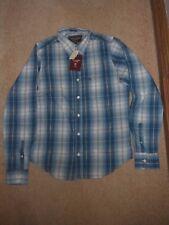 Abercrombie & Fitch nuovo uomo Medium Muscolo Manica Lunga Camicia check Blu Bianco
