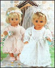 "Knitting Pattern • DOLLS CLOTHES BRIDE & BRIDESMAID DRESS BOUQUET SHOES • 12-22"""