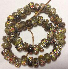Transparent Olivine Speckled Millefiori Rondelle Glass Beads, 25 Beads, 10x6mm