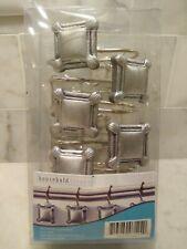 Decorative Metal Square Shower Hook Set, Pack of 12, slip-on style, antique look