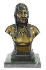 Handcrafted bronze sculpture SALE Art Bust Chief Warrior Indian American Native