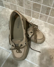 Sperry Top Sider Laguna Size 3 Boat Shoes Linen Oat Boys Girls Youth Leather