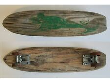 Vintage Nash Shark Skateboard Wood Metal Wheels Green Skate Shoes Skateboarding