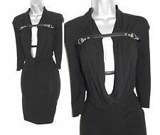 Karen Millen Jersey Negro Frente Abierto Drapeado Vestido Sexy Correas De Cuero UK 8 EU36