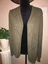 Women's Large Green Open Front Cardigan Sweater