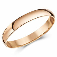 9ct Rose Gold Ring Light Weight D Shaped Wedding Band 3mm Gold Ladies Ring