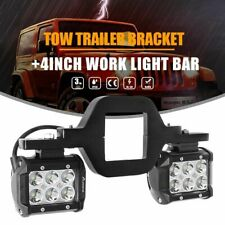 "Pair 4"" 40W LED Work Light Bar SPOT + Trailer Tow Hitch Receiver Mount Bracket"