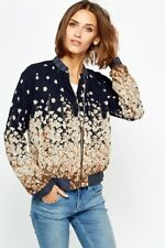 Women's Flowery Floral Navy Brown Nude Blazer Bomber Jacket Size 10