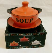 ❀ڿڰۣ❀ HOME SWEET HOME Retro Halloween Orange SOUP BOWL LID & PLATE ~ BNIB ❀ SALE