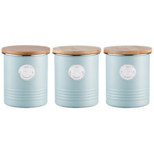 Typhoon Living Blue Tea Coffee Sugar Canister Storage Jar Container Set
