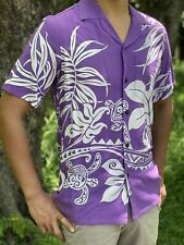 Turtles and Ferns Purple Rayon Hawaiian Aloha Shirt