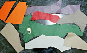 Leather scraps Black Blue Red Brown offcuts Remnants Sheets Lot Goatskin Sheep