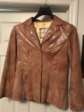 ANDREW MARC Women Tan Leather Print Jacket Size M