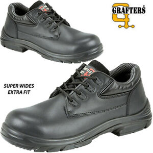Mens Leather Safety Shoes Super Wide EEEE Fit Steel Toe Cap Work Boots Shoes Sz