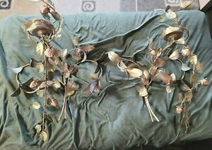 Vintage Italian Gold Gilt Metal Pair Candle Wall Sconce Leaves and Strawberries