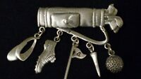 JJ JONETTE signed Articulate Pewter 'GOLF BAG & CHARMS' Pin/Brooch in Gift Box*