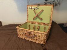 Antique Wicker Suitcase Picnic Basket