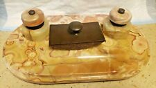 ANTIQUE BEAUTIFUL MARBLE DOUBLE INKSTAND DESK TRAY (20.5lbs)