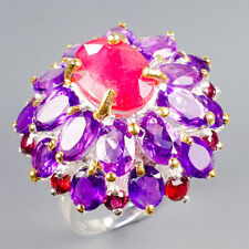 Handmade Natural Ruby 925 Sterling Silver Ring Size 7.75/R120903