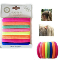 8 Stretchy Hair Rubber Bands Pony Tail FLUORECENT Bright Colours Thick Bobbles