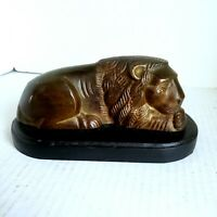 Vintage Metal Lion Figure Statue Sculpture On Wood Base