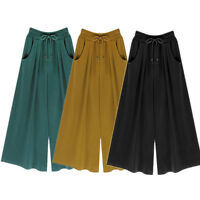 Women Harem Pants Loose Cotton Elastic Waist Wide Leg Pants Plus Size 6XL