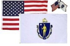 Wholesale Combo Usa & Massachusetts State 3x5 3'x5' Flag & Friendship Lapel Pin