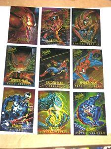 1995 Fleer ULTRA Spider-Man INSERT MASTERPIECES 9 Card Set! VENOM CARNAGE!
