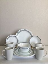 Corelle Vitrelle City Block 18 Set Dinner Bread & Butter Plates Soup Bowls Mugs