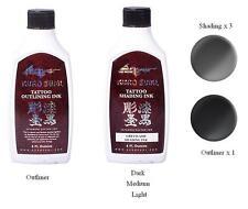 Kuro Sumi Liner & Greywash Shading Ink Set Of 4 Tattoo Inks 35ml