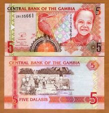 Gambia, 5 Dalasis, ND (2006), 2013 Issue, P-25r, UNC > Z-REPLACEMENT