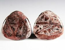 Two (2) Red Bamboo Agate 30mm Triangle Drop Drill Beads aka Red Giraffe (266)