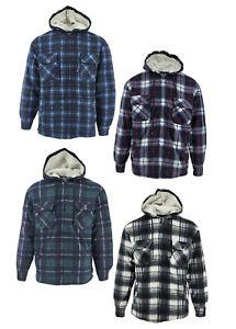 Mens Lumberjack Work Padded Thick Fleece Lined Sherpa Fur Check Hooded Shirt UK