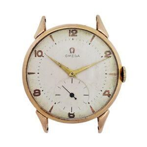 Huge 18k Solid Rose Gold Case Omega Cal. 265 Vintage Mens Running Wrist Watch