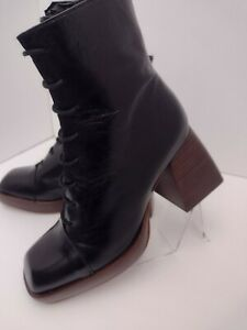 ASOS Robyn Black Heel Boots Size 4UK (US WOMENS 6) Chunky Heel Combat Goth Shoes