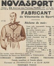 Z9357 NOVASPORT Vetements de Sport -  Pubblicità d'epoca - 1936 Old advertising