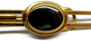 1/20 12K Yellow Gold Filled Hadley Round Black Onyx Vintage Tie Bar Clip Clasp