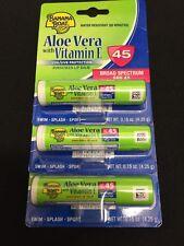Lot Of 3 Banana Boat Aloe Vera With Vitamin E Lip Balm SPF 45