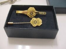 vintage united states postal police officer tie clip and stick pin -gold color