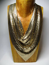 Vintage Whiting & Davis Goldtone Mesh Bib Necklace