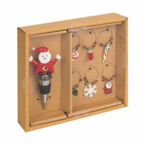 Wine Bottle Stopper & 6 Christmas Glass Charms Party Drinks Secret Santa Gift