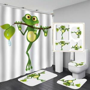 Cute Cartoon Frog Shower Curtain Bath Mat Toilet Cover Rug Bathroom Decor