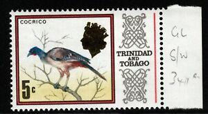 TRINIDAD & TOBAGO SG341a 1972 5c BIRDS DEFINITIVE GLAZED PAPER MNH